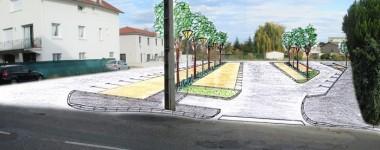 Premier croquis du futur parking de la Commanderie (réalisé par le Bureau d'études de la Ville de Montbrison)