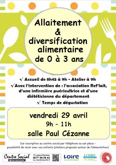 Atelier allaitement diversification 29 04 2016