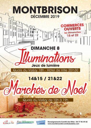 Affiche illumination et marché de noël Montbrison