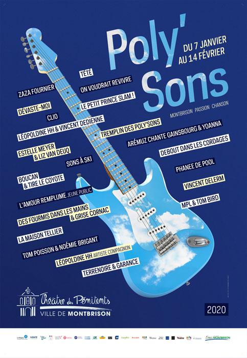 Affiche festival des polysons représentant une guitare