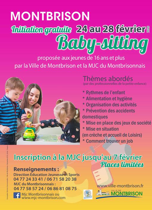 Affiche représentant une baby-sitter avec deux enfants