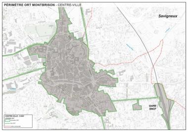 Carte de Montbrison définissant le périmètre Opération de revitalisation de territoire