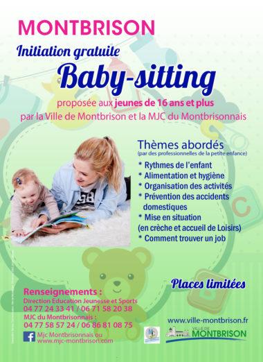 affiche avec baby sitter et enfant