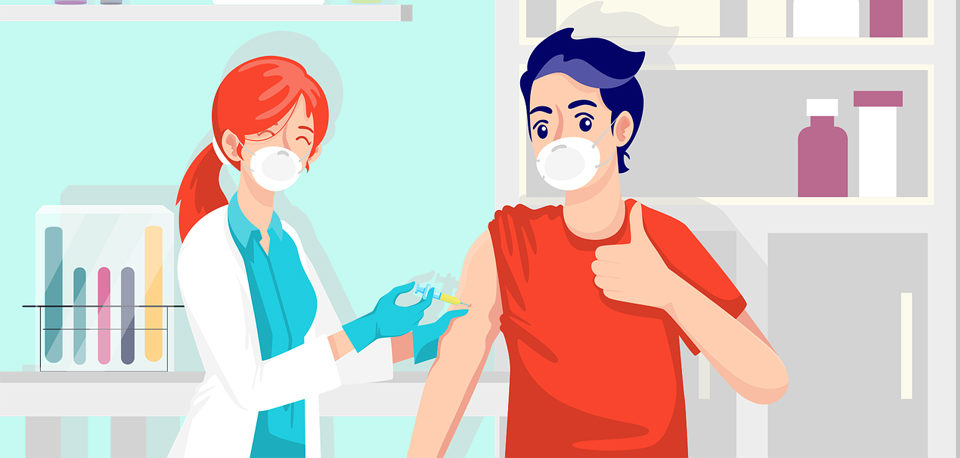 dessin d'un ado se faisant vacciner