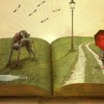 dessin représentant un livre ouvert avec un paysage en relief
