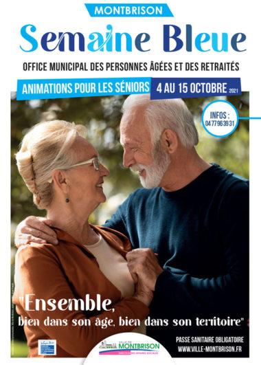 Affiche semaine bleue 2021 avec un couple de seniors