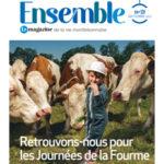 Couverture magazine municipal ensemble avec un enfant devant des vachesnici